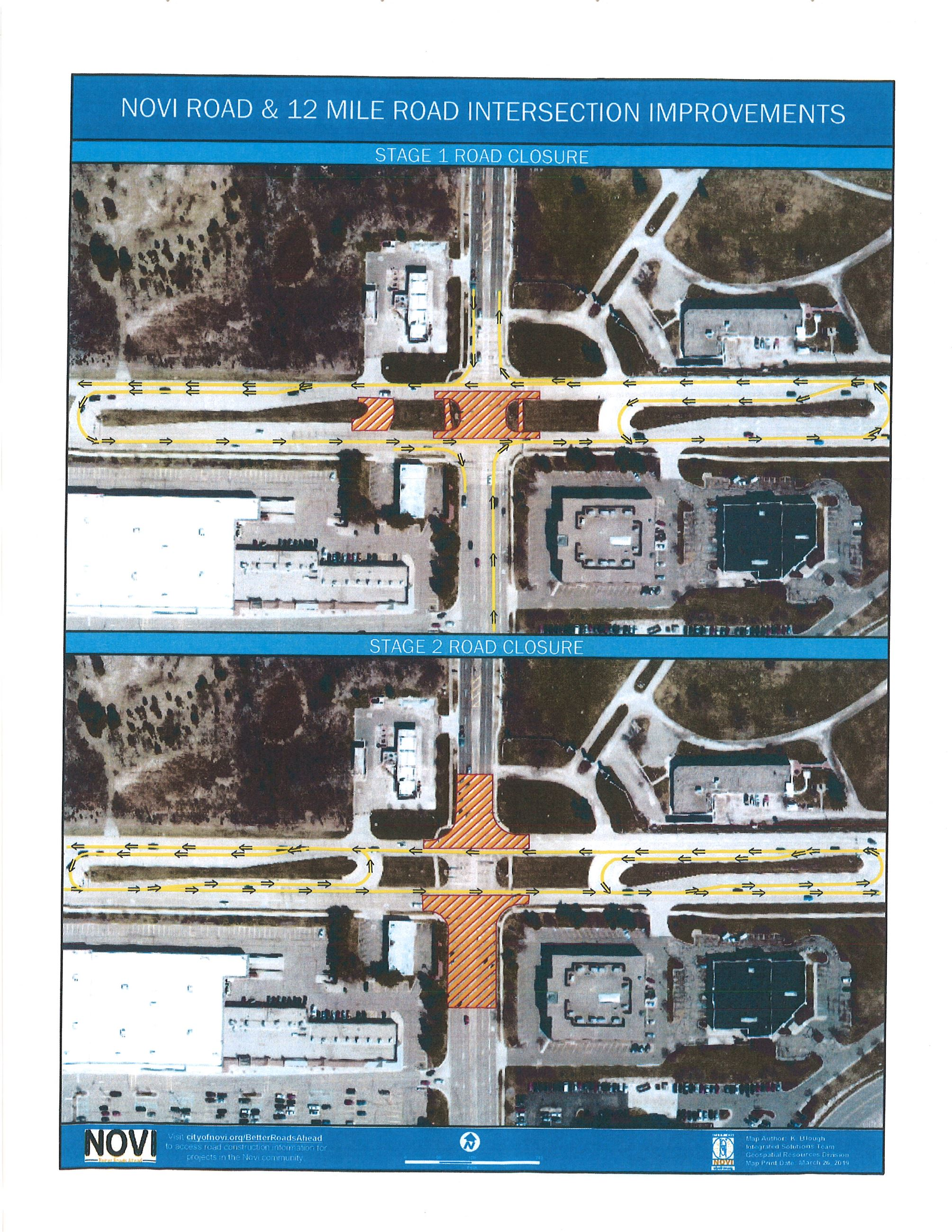 Novi/12 Mile Road construction staging map (provided by the City of Novi)
