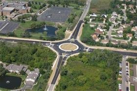 Aerial photo of M-5 and Pontiac Trail Roundabout Small Size