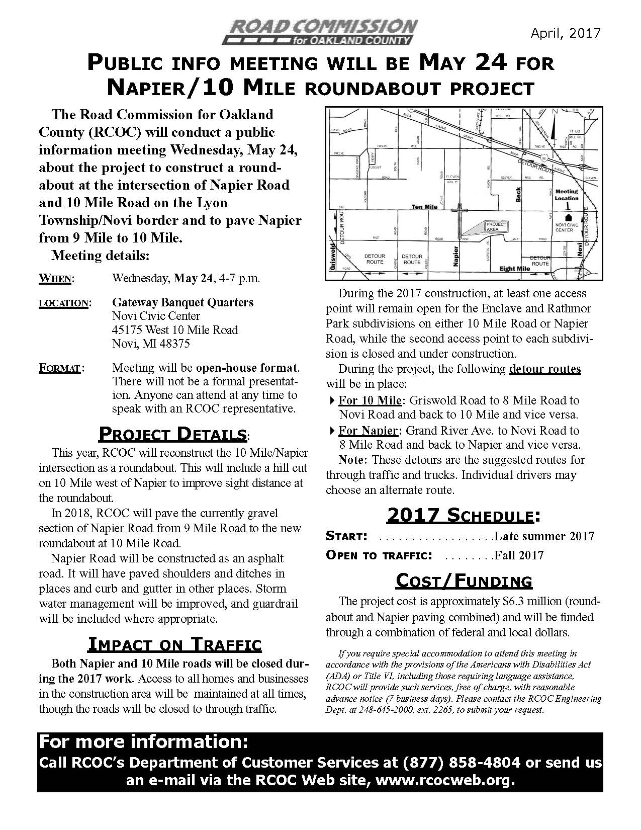 2017 Napier/10 Mile Road Information Flier