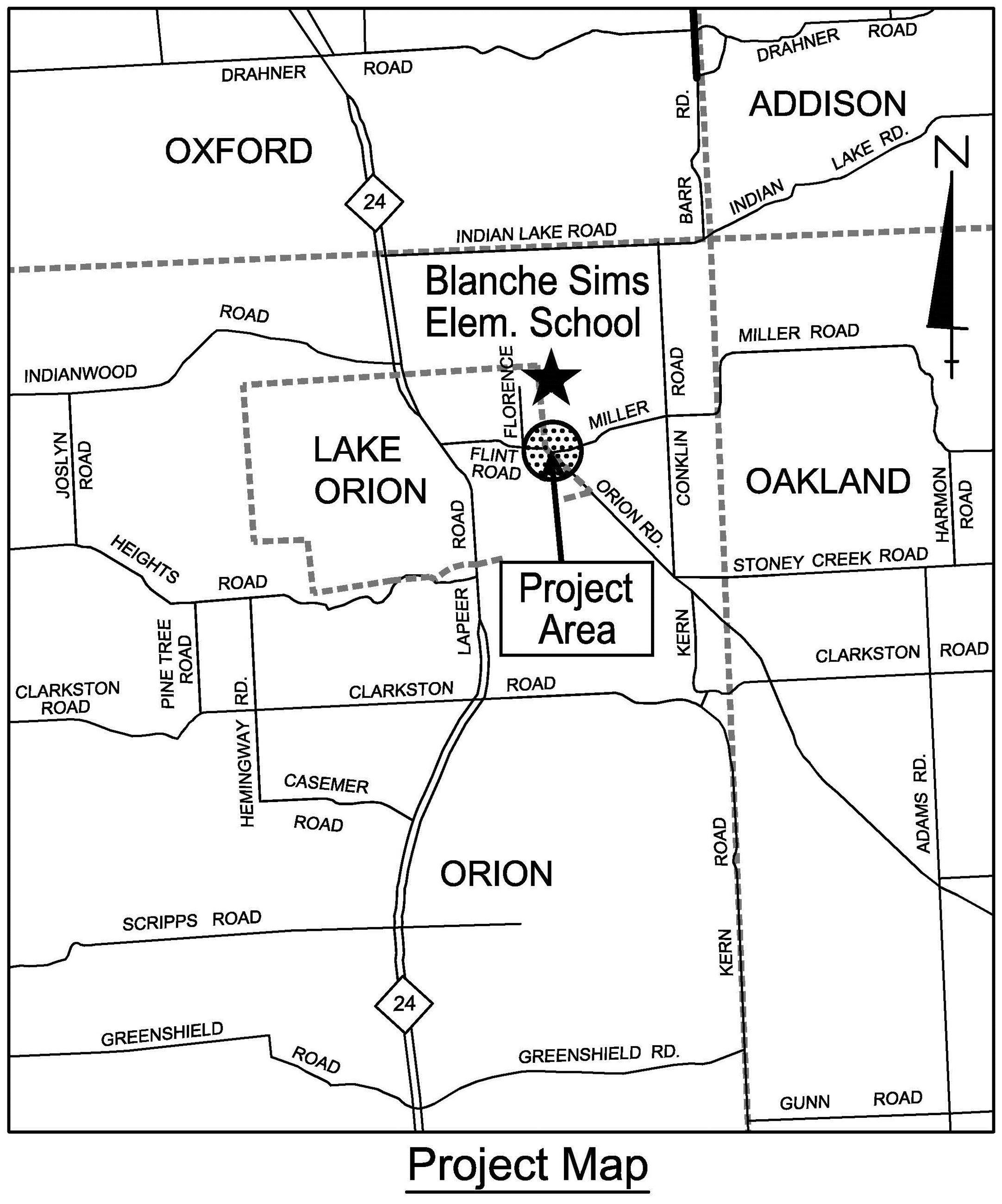 Flint, Orion and Miller Road roundabout project location map