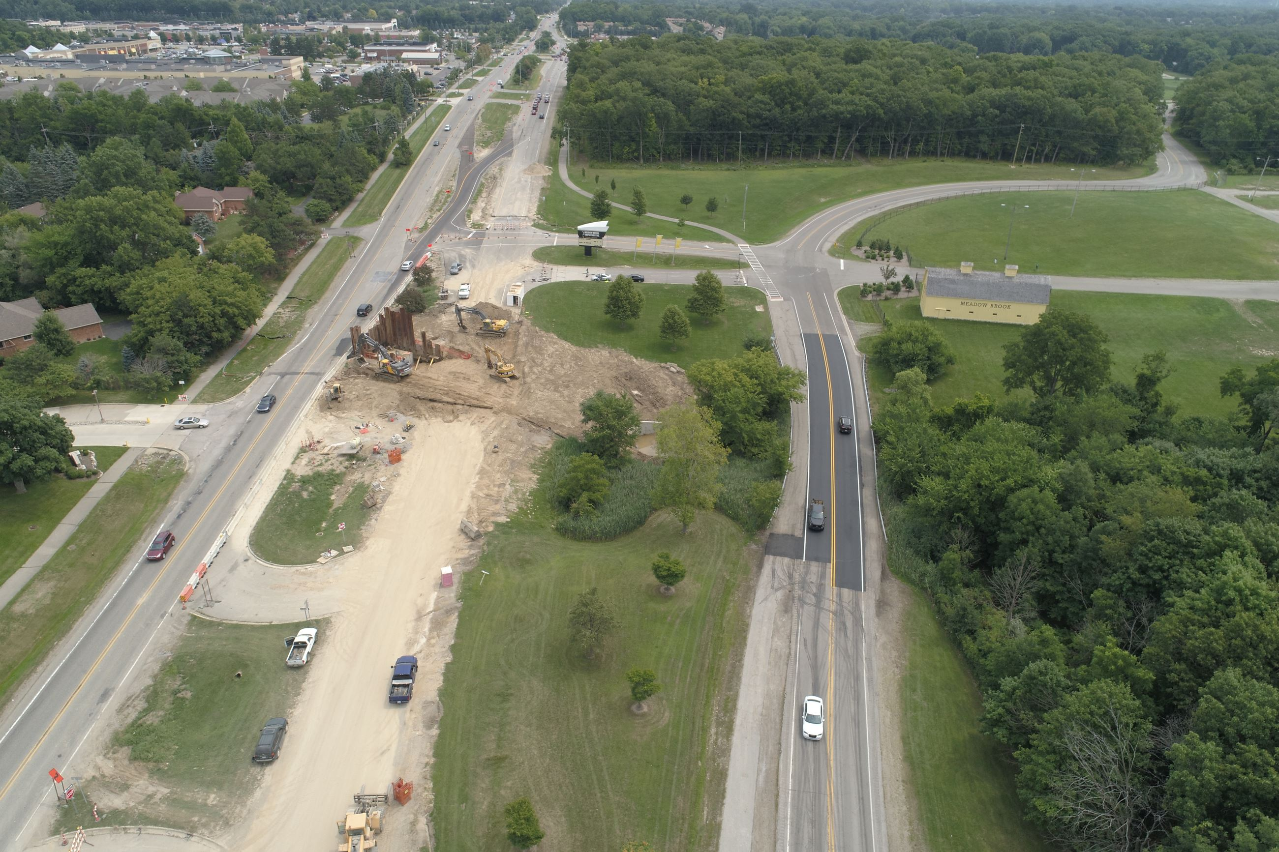 Aerial Shot of Walton Blvd Looking East