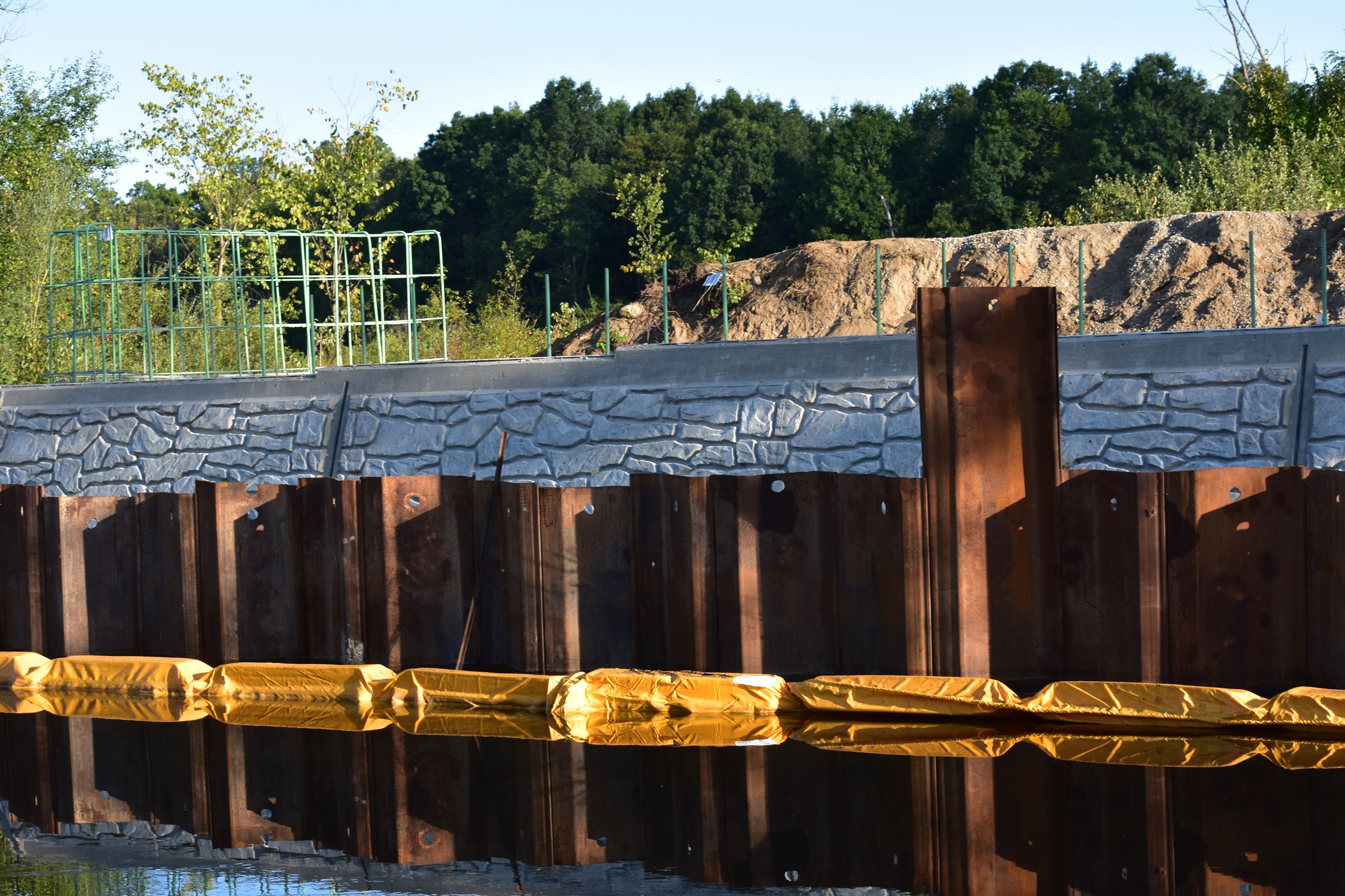 Wixom Road bridge north abutment with stone pattern