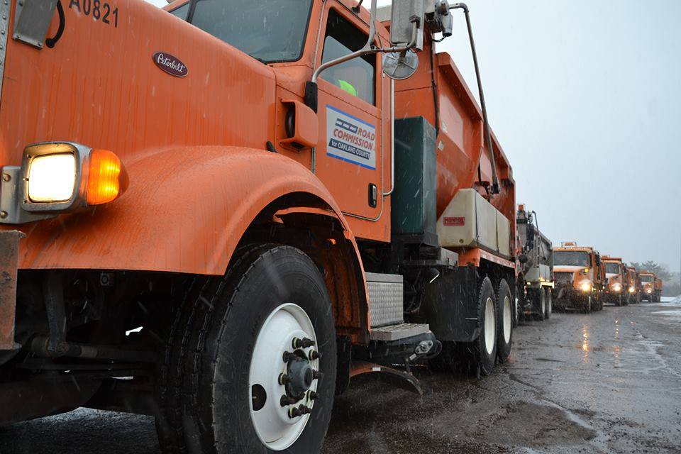 RCOC salt trucks line up at the Southfield garage salt dome