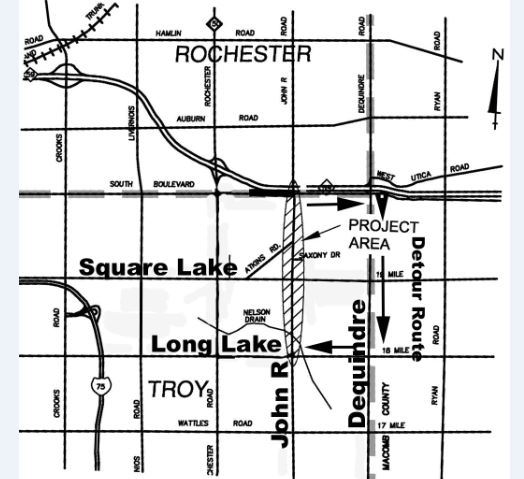 John R project map & detour (Long Lake Road to South Blvd)