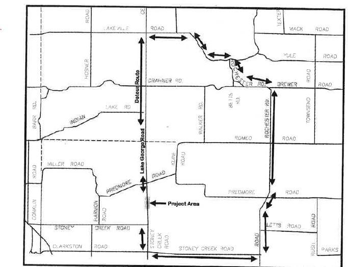 Lake George Road culvert location and detour map
