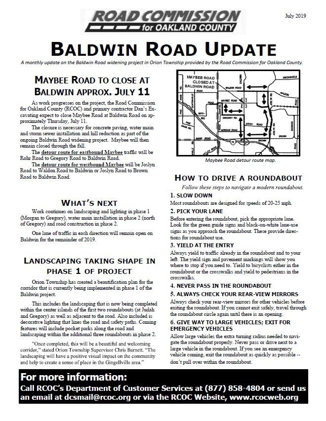 Baldwin Road Update 7-5-19