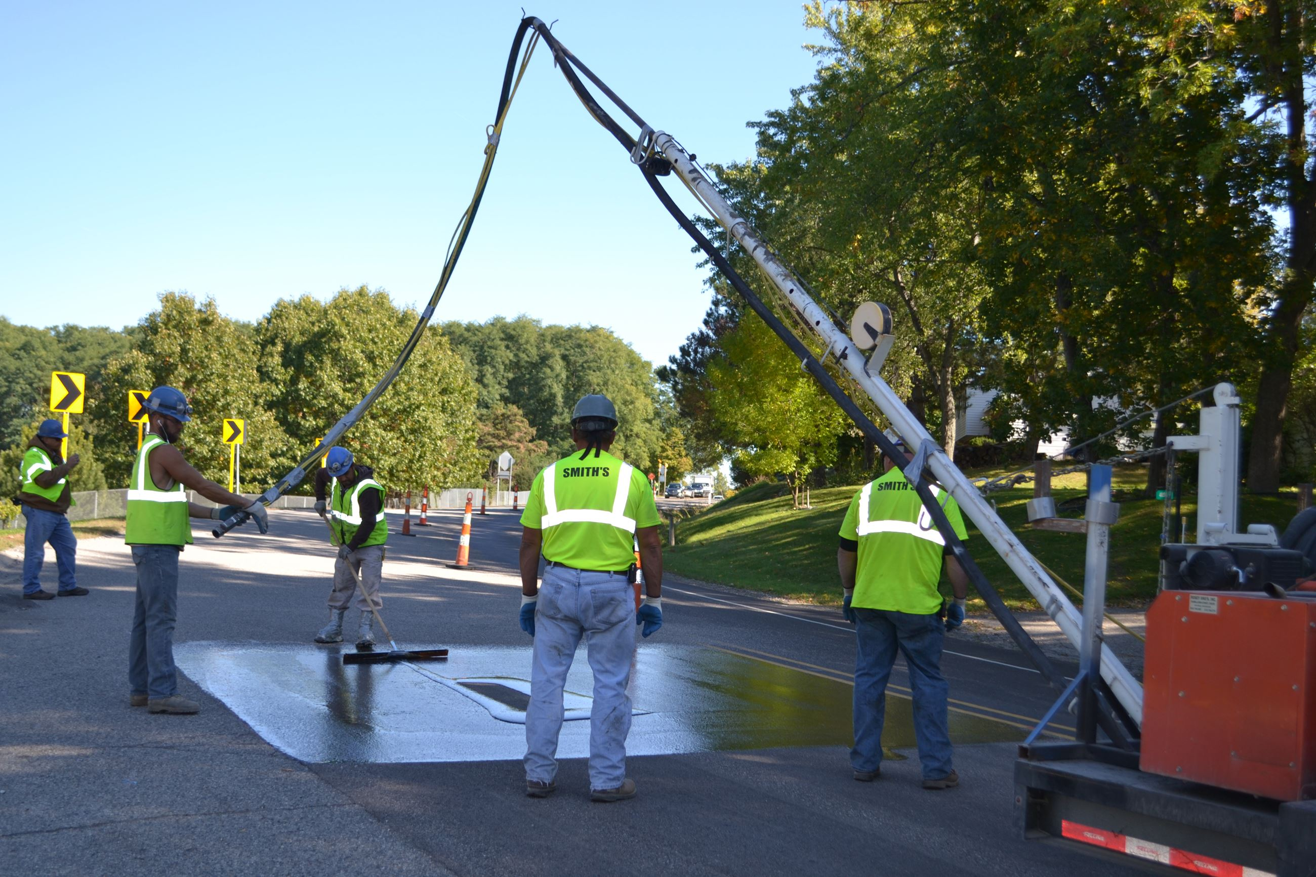 Applying epoxy to the Clarkston Road surface in 2016