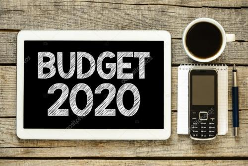 2020 budget image with calculator, pen and coffee