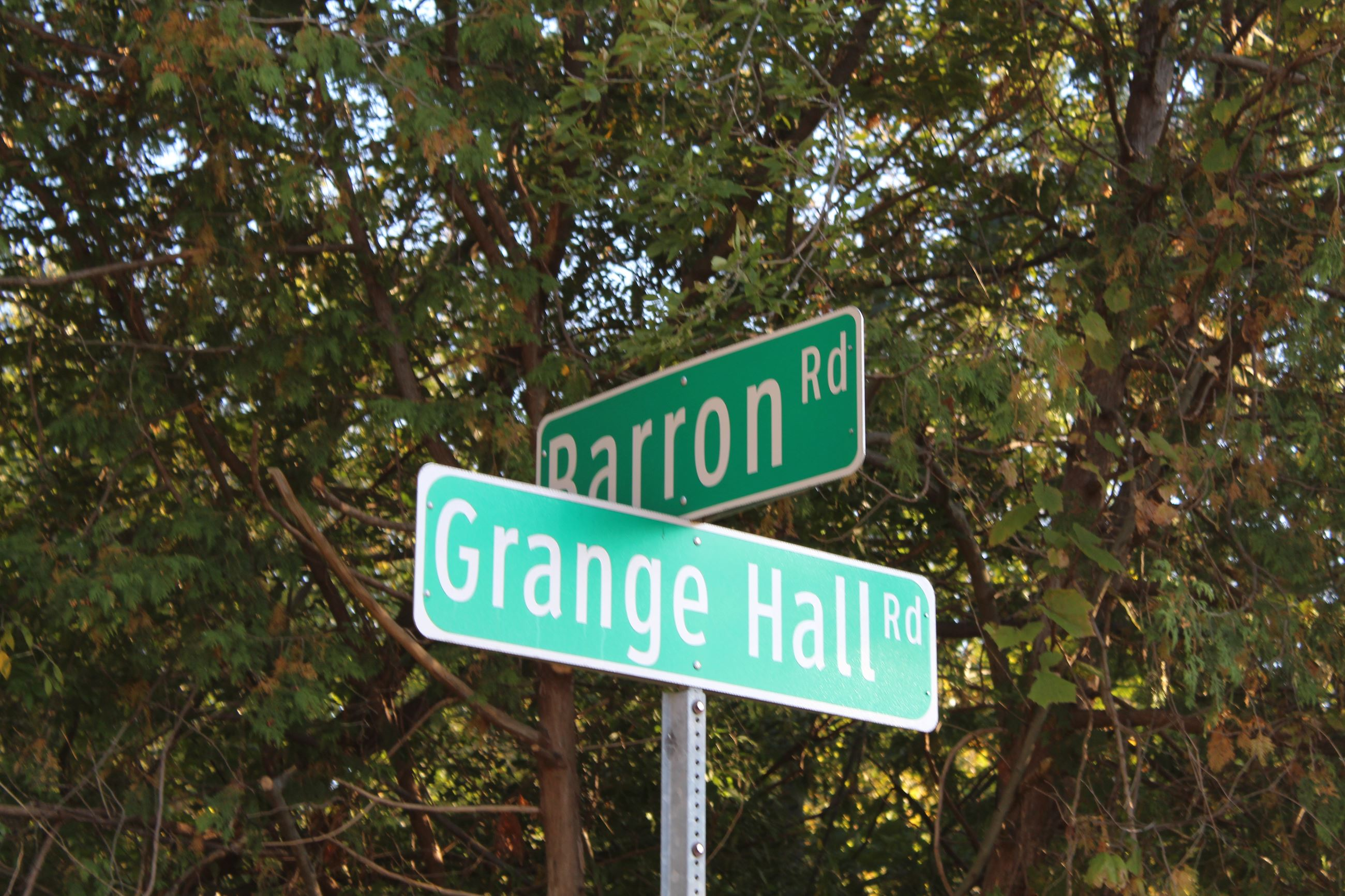 Barron Road and Grange Hall Road sign