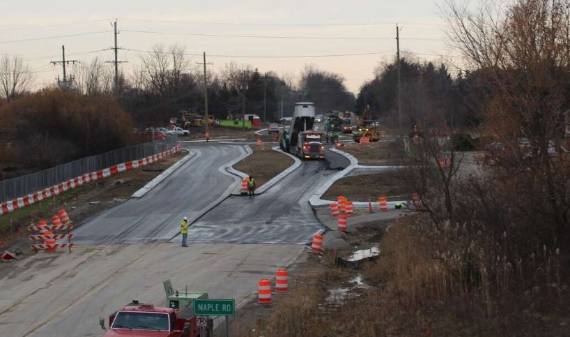 Nov 26 photo of the Maple/Middlebelt roundabout construction with paving operations