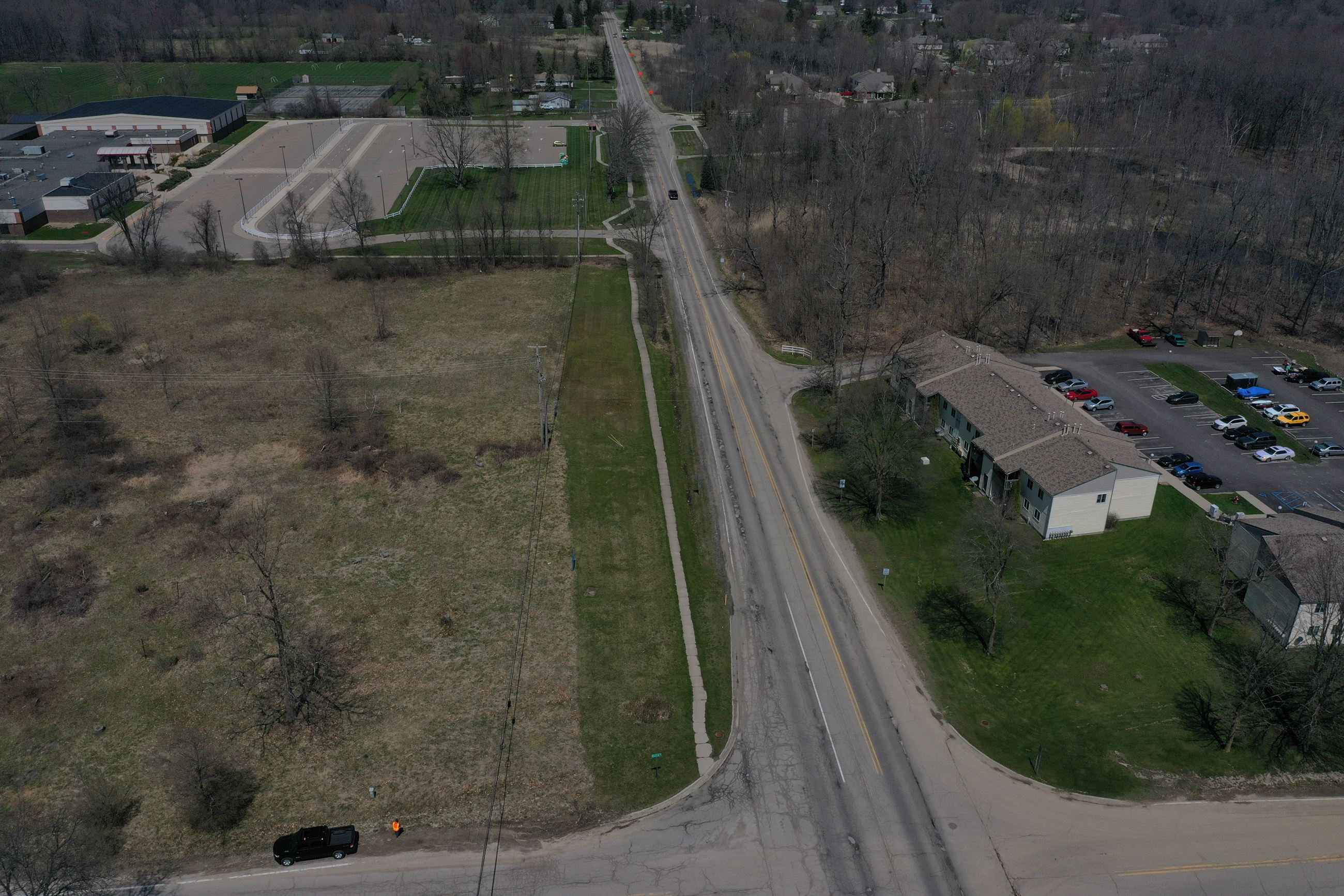 Pre-construction aerial photo of Holly Road