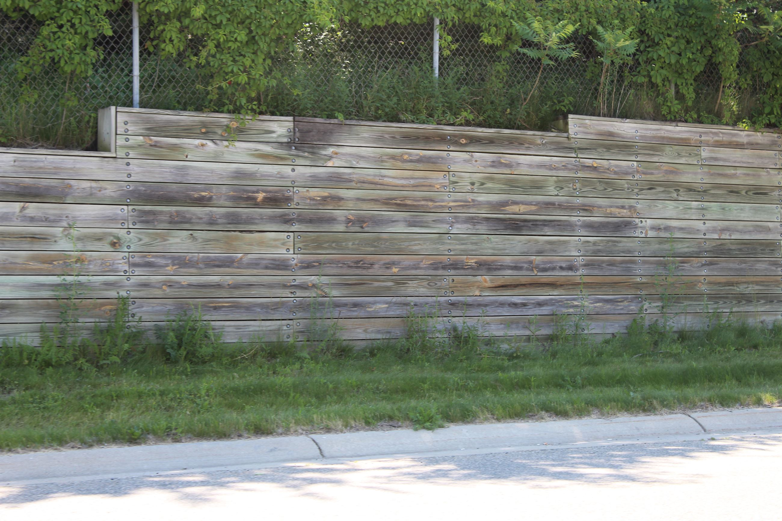 Retaining wall at North Holly and Belford Road Intersection