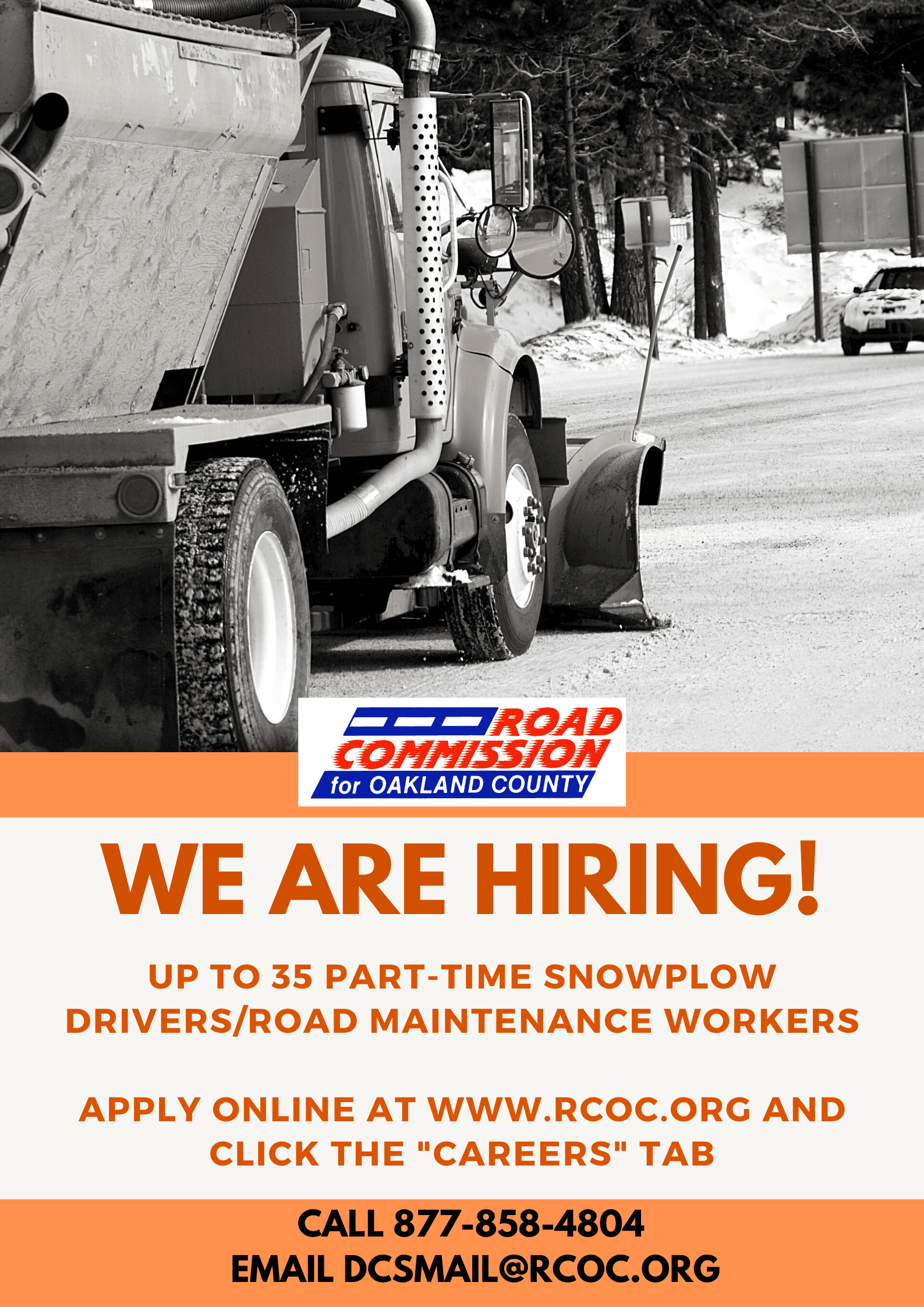 RCOC hiring part-time snowplow drivers/maintenance workers image