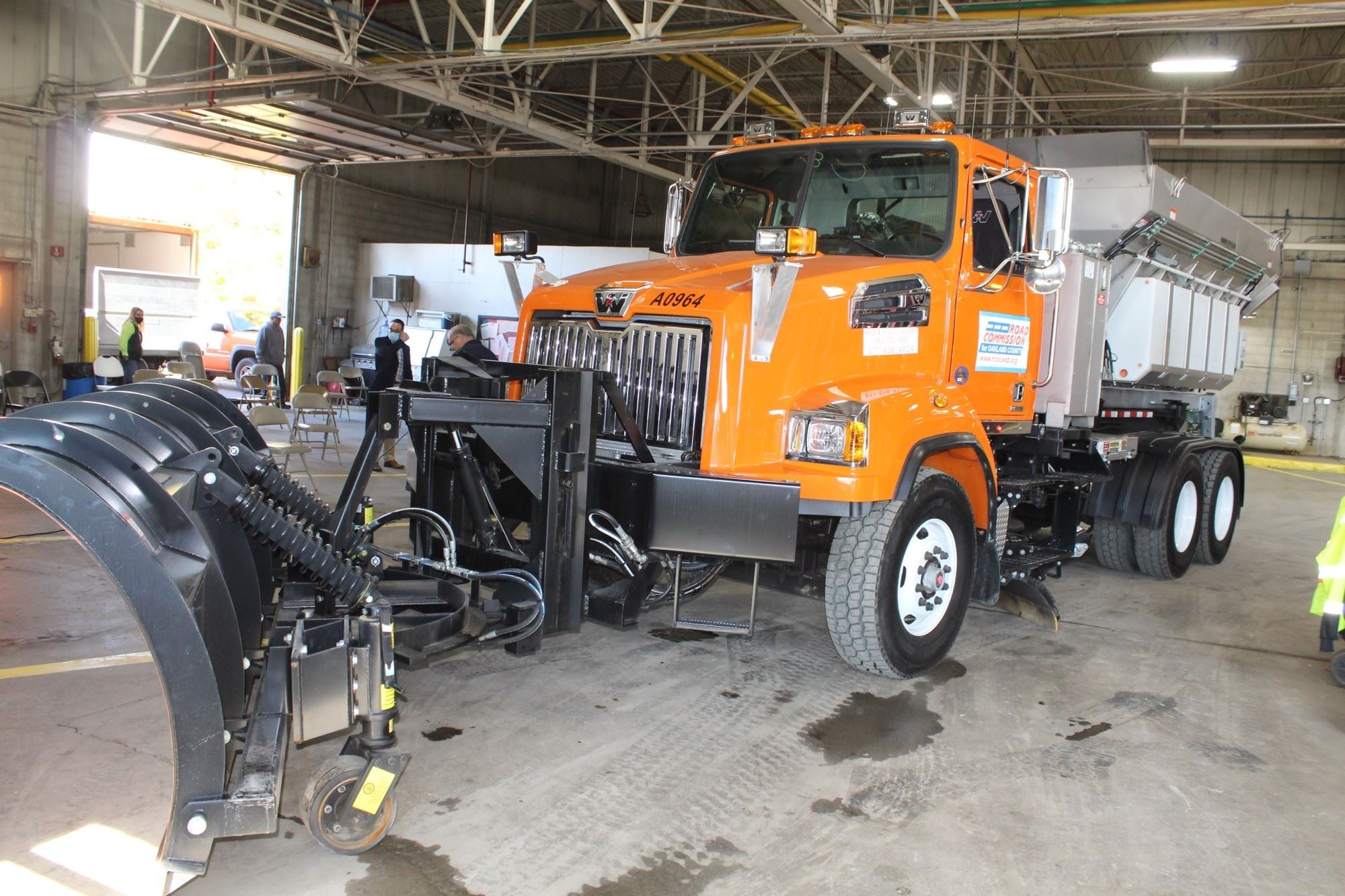 RCOC snowplow truck at the Southfield garage