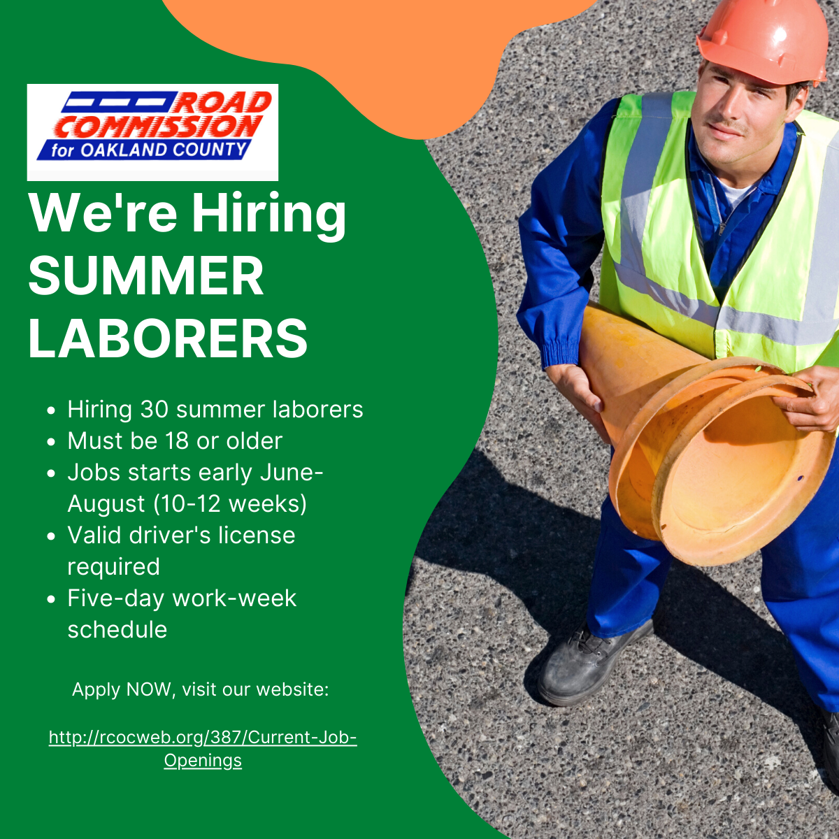 Hiring summer laborers image with basic information on job requirements