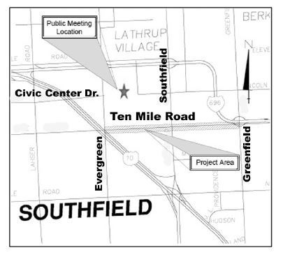 10 Mile road concrete repairs PROJECT MAP for work between Evergreen and Greenfield