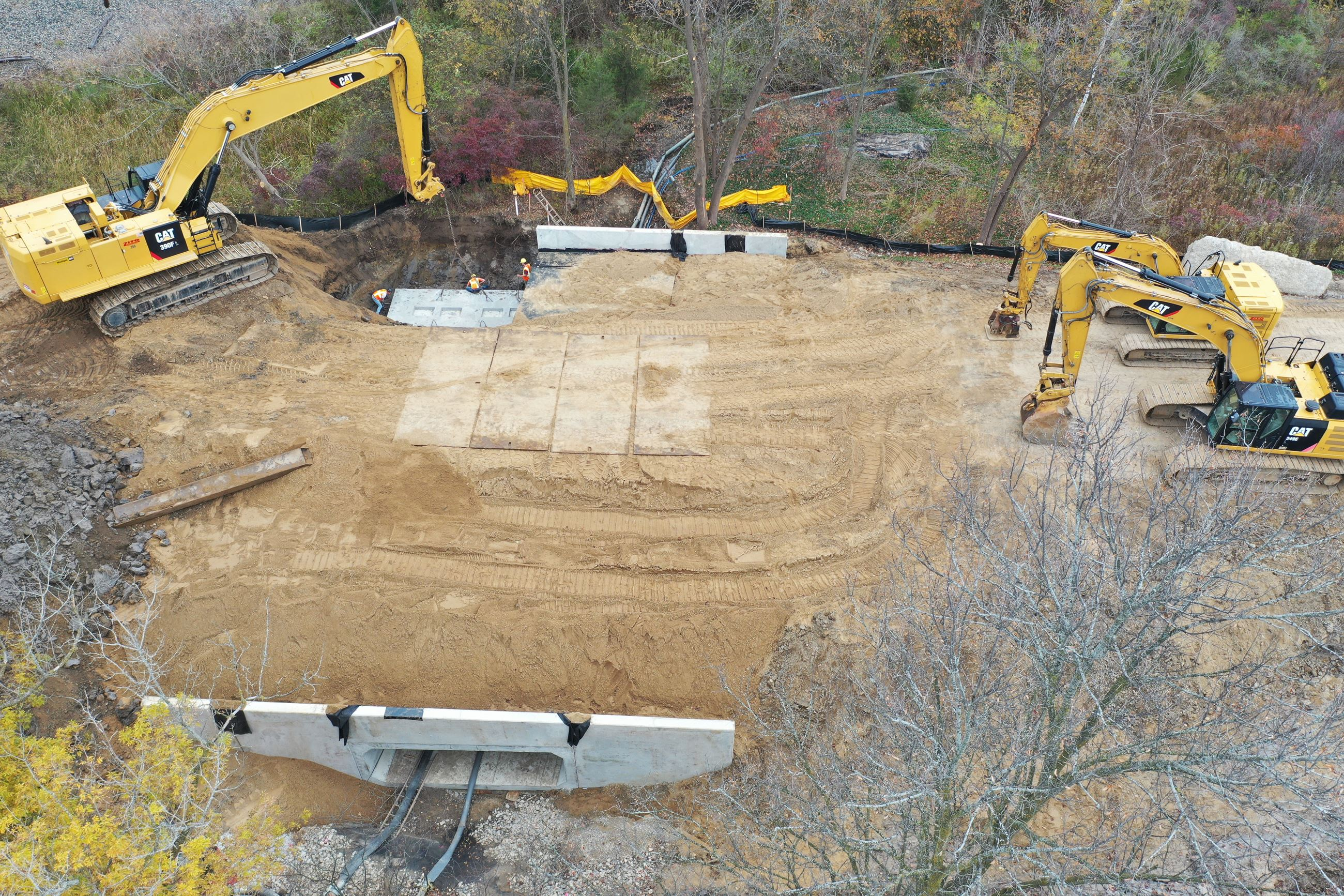 Taken on Oct. 21, 2019.  Drone photo of Milford Road culvert replacement  east of Fenton Road. Culve