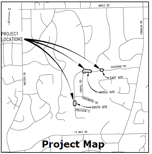 Pickering map of 3 culverts that will be replaced
