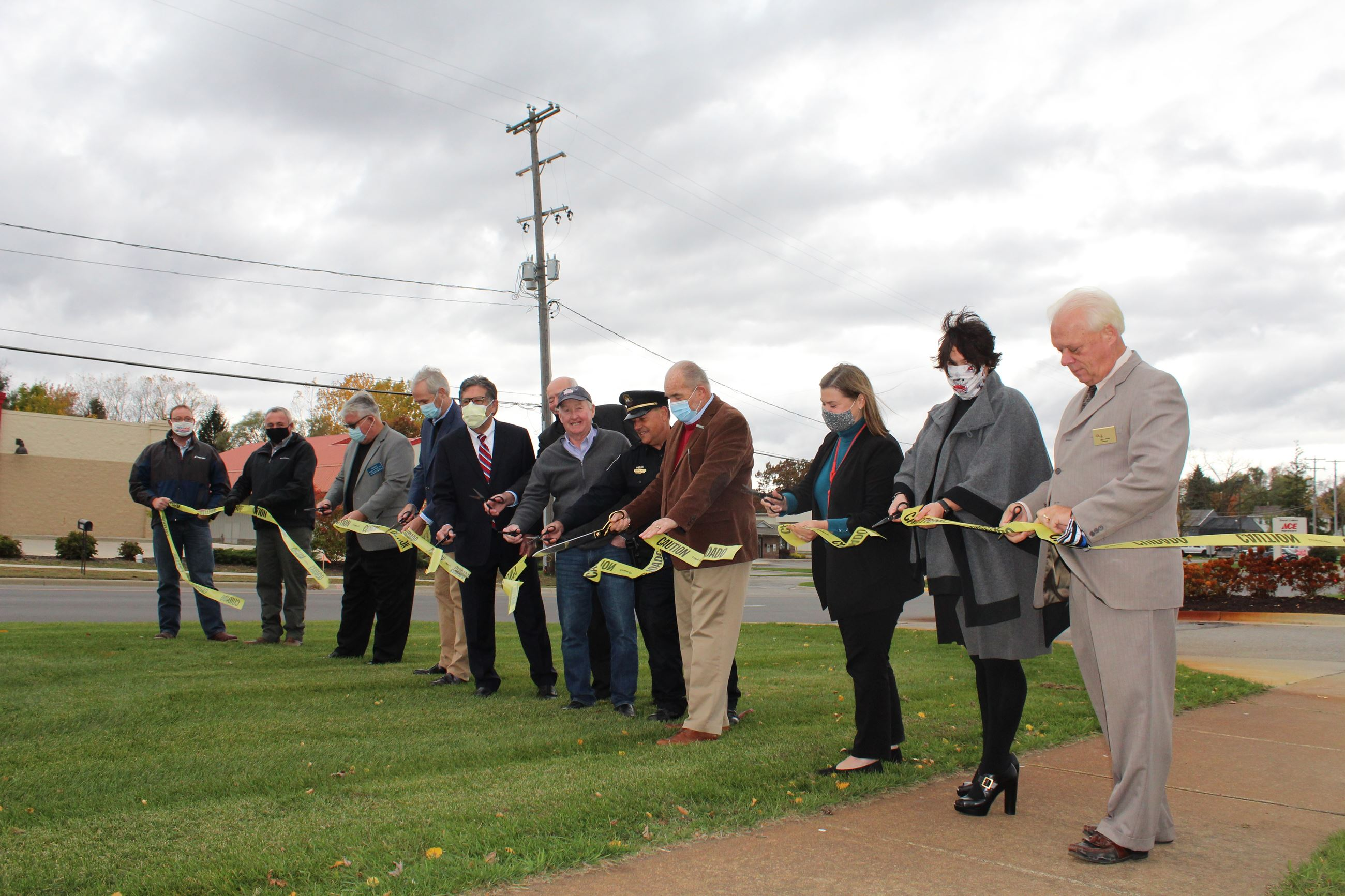 Holly Road Ribbon Cutting with dignitaries on Oct. 15, 2020